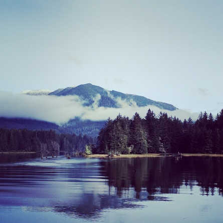 Mist, mountains, and water near Port Renfrew, BC