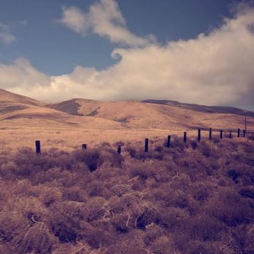 Fog curls between brown hills and blue sky.